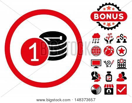 Coins icon with bonus design elements. Vector illustration style is flat iconic bicolor symbols, intensive red and black colors, white background.