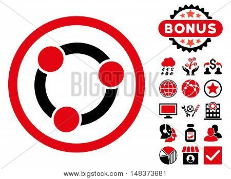 Collaboration icon with bonus images. Vector illustration style is flat iconic bicolor symbols, intensive red and black colors, white background.