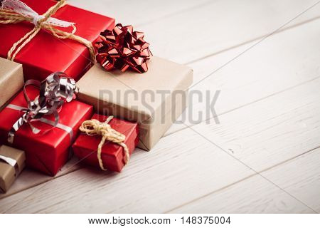 High angle view of presents on the floor