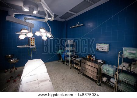 Interior view of operating room in hospital