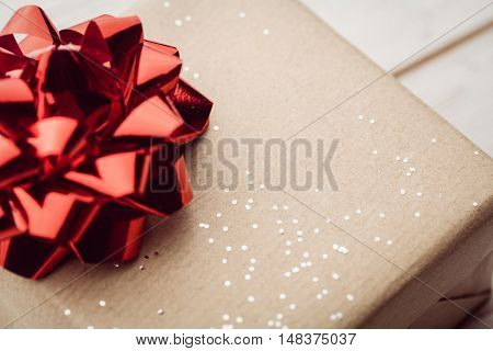extreme close up view of a present on the floor