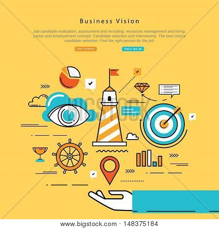 Flat line modern corporate business vector illustration design and infographic elements for strategic planning, company vision statement, business mission, goals management and leadership concept