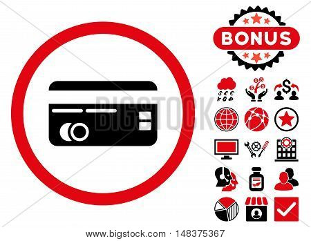 Credit Card icon with bonus pictures. Vector illustration style is flat iconic bicolor symbols, intensive red and black colors, white background.