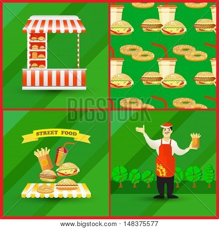 Cards collection of street fast food elements with seller, street cart, seamless background. Flat style, colorful vector illustration.