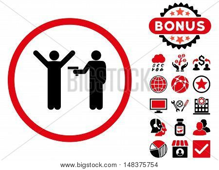 Crime icon with bonus elements. Vector illustration style is flat iconic bicolor symbols, intensive red and black colors, white background.