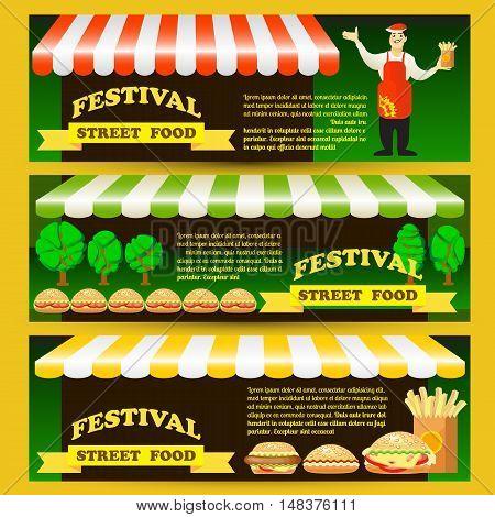 Set Street fast food festival flyers. Flat style colorful vector illustration with seller, hamburger, potato fries, hot dog, design elements.