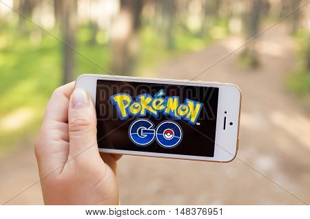 JURMALA LATVIA - July 13 2016: Pokemon Go is a location-based augmented reality mobile game.