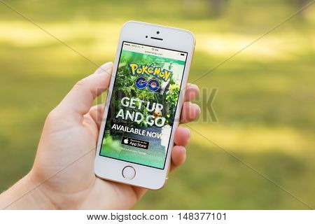 JURMALA LATVIA - July 13 2016: Pokemon Go mobile website on the phone. Pokemon Go is an augmented reality mobile game.