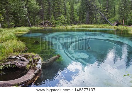 Geyser lake with blue clay. Attraction in Altai Russia