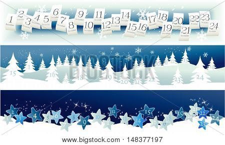 Three banners with Advent Calendar - vector illustration
