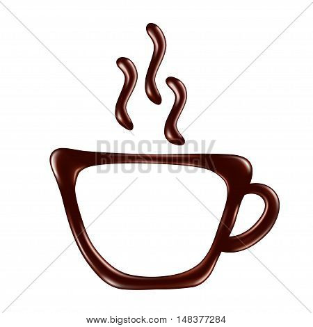 Drawn chocolate cup on a white background