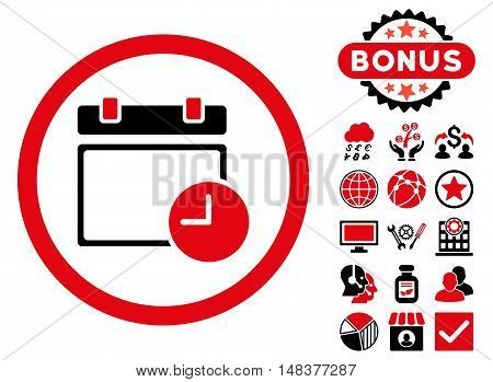 Date and Time icon with bonus symbols. Vector illustration style is flat iconic bicolor symbols, intensive red and black colors, white background.