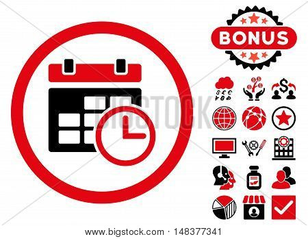 Date and Time icon with bonus pictogram. Vector illustration style is flat iconic bicolor symbols, intensive red and black colors, white background.