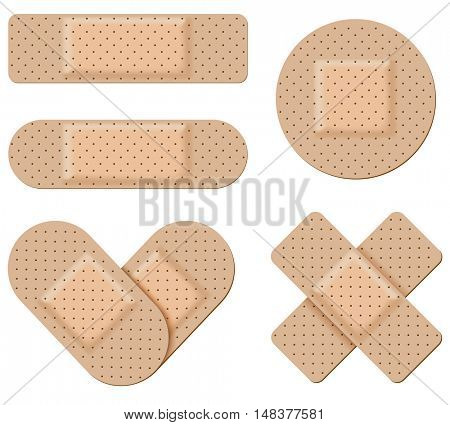 Antiseptic band-aid vector set isolated on white background.  Adhesive bandage collection in form of stripes, cross and heart.
