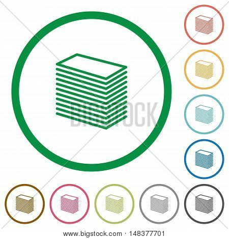 Set of paper stack color round outlined flat icons on white background
