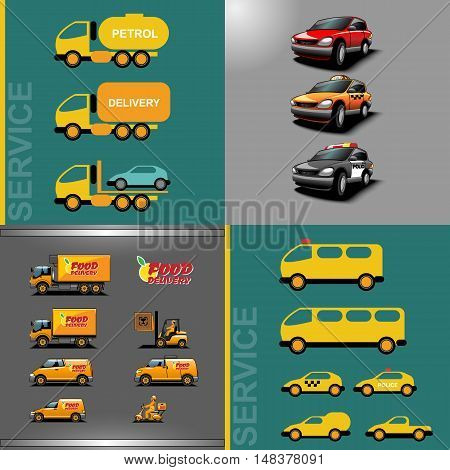 Digital vector orange and red auto car icon set, food delivery, police, taxi, truck, ambulance and service.
