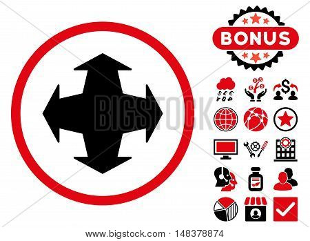 Directions icon with bonus pictures. Vector illustration style is flat iconic bicolor symbols intensive red and black colors white background.