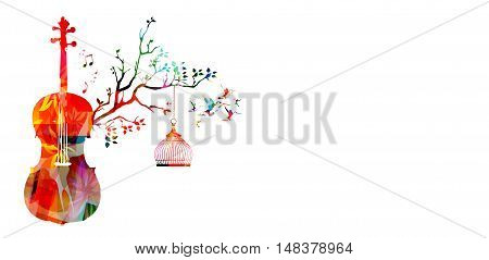 Creative music style template vector illustration, colorful violoncello, nature inspired instrument background with birds.