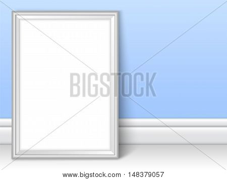 Photoframe template near blue wall. Realistic mockup vector. Cute color of framing great for kids drawing painting or photo. Silver picture template for children room or school theme design.