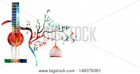 Creative music style template vector illustration, colorful guitar, nature inspired instrument background with birds.