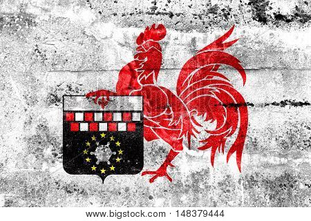 Flag Of Charleroi, Belgium, Painted On Dirty Wall