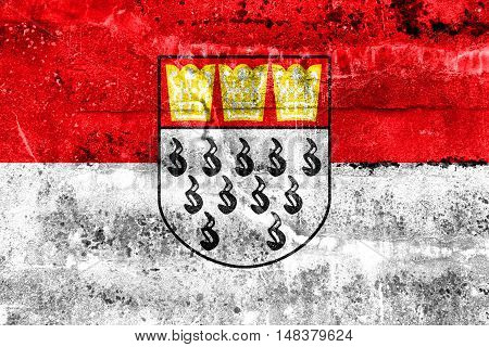 Flag Of Cologne, Germany, Painted On Dirty Wall