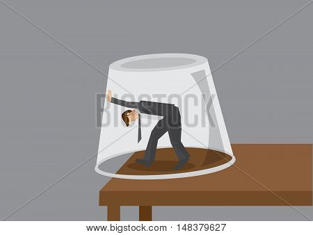 Cartoon modern man trapped in an inverted glass pushing and trying to get out. Creative vector illustration on feeling trapped concept isolated on grey background.