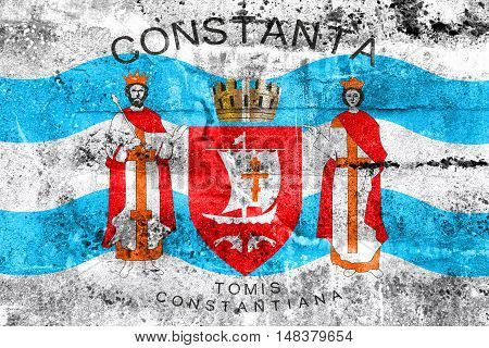 Flag Of Constanta, Romania, Painted On Dirty Wall