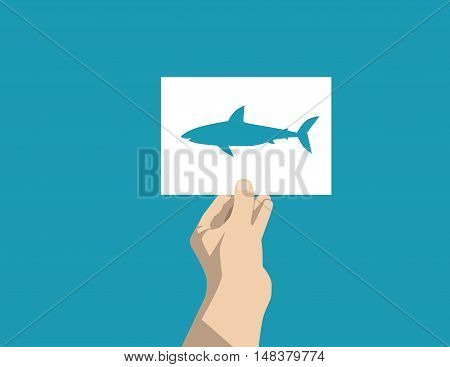 Shark Silhouette Cut Out With Cardboard. Concept Abstract Vector Illustration. Vector Flat