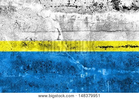 Flag Of Czestochowa, Poland, Painted On Dirty Wall