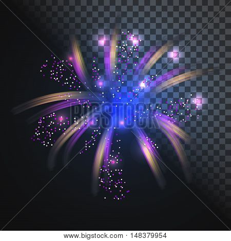 Festive blue firework vector with glowing sparkles. Exploding light sparks.