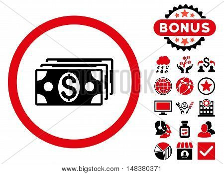 Dollar Banknotes icon with bonus design elements. Vector illustration style is flat iconic bicolor symbols, intensive red and black colors, white background.