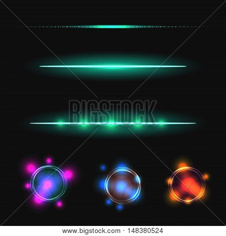 Glow stick line vector effect set. Luminous lines and flare circles.