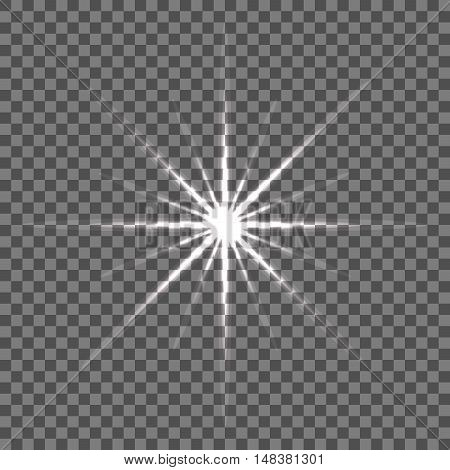 Shining vector star illustration. Glow transparent spot radiance.