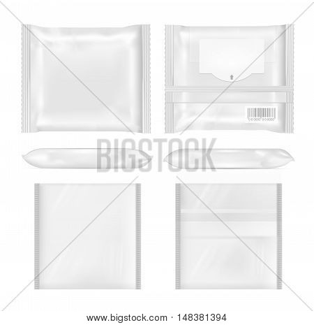 White Package With Flap For Snacks, Food, Chips, Cheese And Spices