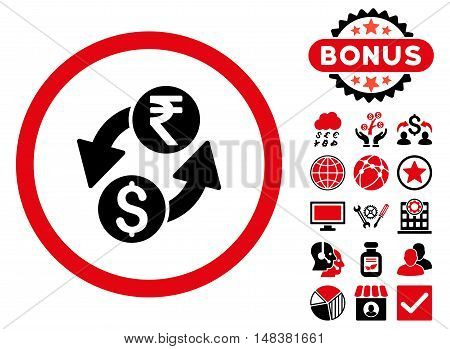 Dollar Rupee Exchange icon with bonus symbols. Vector illustration style is flat iconic bicolor symbols, intensive red and black colors, white background.