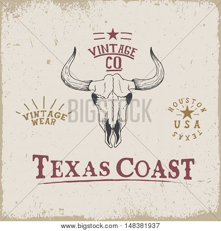 Western old label with skull of bull. Grunge style.Prints design for t-shirts or emblem and label