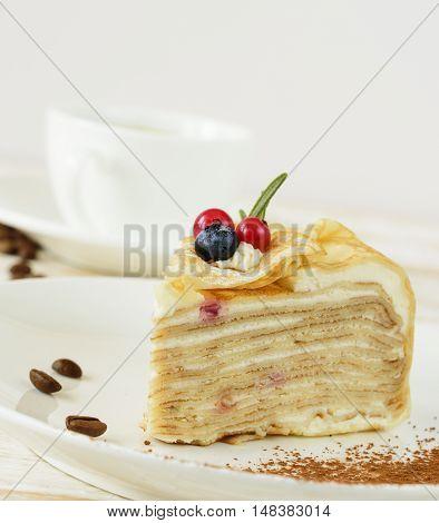 Cake sweet dessert. Layer cake close up