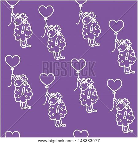 Sheep flies on a balloon. Childrens pattern