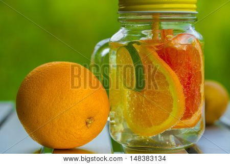 Fruits juice. fruit lemonade on the table
