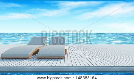 Sundesk chairs on white wooden floor with sea view and blue sky background for summer vacation -3D rendering
