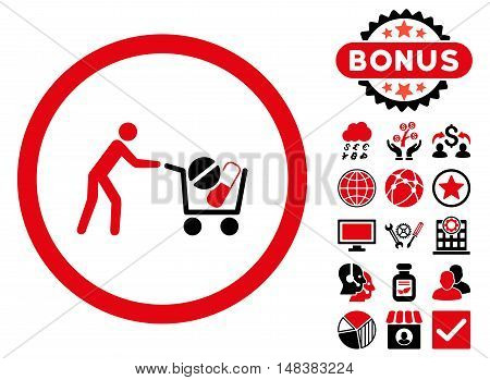 Drugs Shopping Cart icon with bonus design elements. Vector illustration style is flat iconic bicolor symbols, intensive red and black colors, white background.