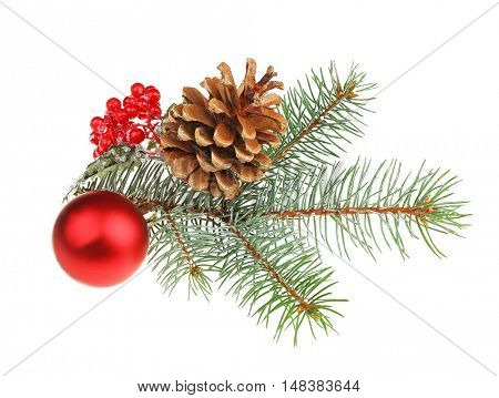 Glass ball, strobile, mistletoe and pine-tree branch isolated on white