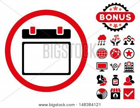 Empty Calendar Day icon with bonus symbols. Vector illustration style is flat iconic bicolor symbols, intensive red and black colors, white background.
