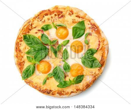Margarita pizza with basil leaves and egg isolated on white