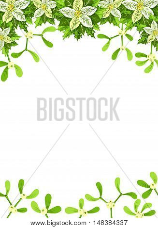 Christmas background with white poinsettia mistletoe and holly leaves decoration elements. Vertical banner with copy space