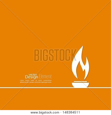 Vector icon of  torch with a flame. Orange background with bright torch. layout for booklet, flyer, cover, preview, announcement, report.