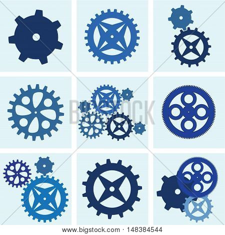Gears and cogs mechanic and engineering black icon set, vector illustration