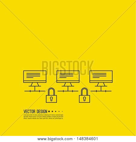 The computer network is protected. Encrypted information. Connection desktops with padlock. Storage of digital information. The database is on a remote computer.
