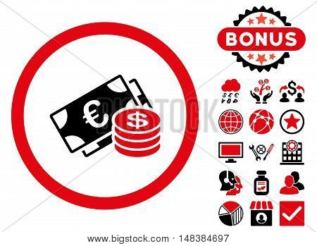 Euro and Dollar Cash icon with bonus images. Vector illustration style is flat iconic bicolor symbols intensive red and black colors white background.